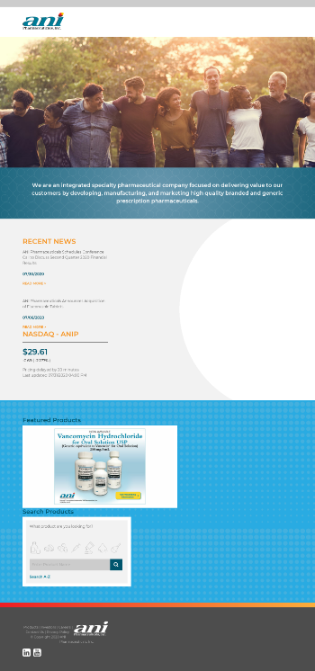ANI Pharmaceuticals, Inc. Website Screenshot