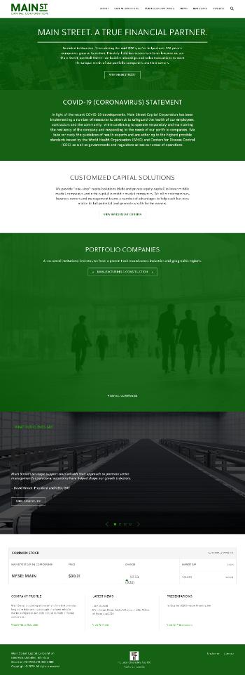Main Street Capital Corporation Website Screenshot