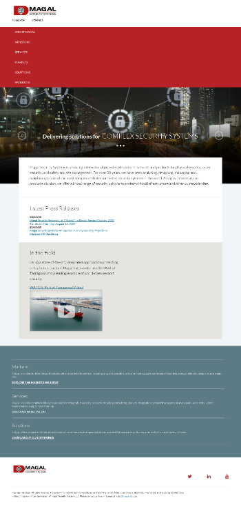 Magal Security Systems Ltd. Website Screenshot