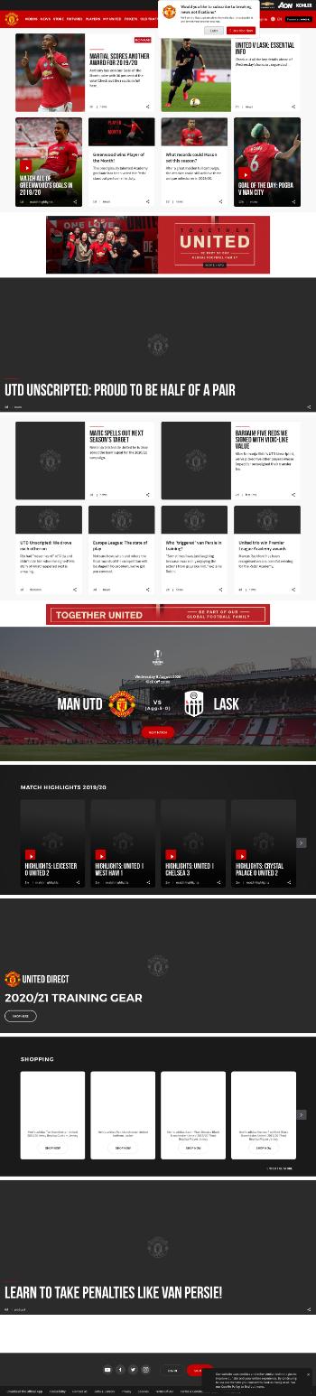 Manchester United plc Website Screenshot