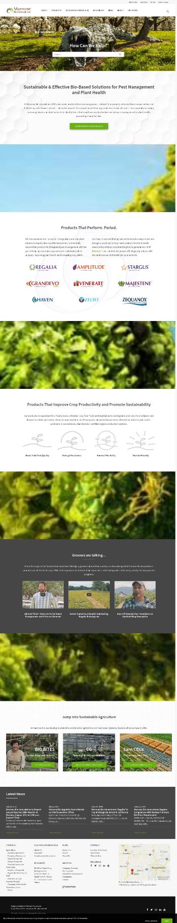 Marrone Bio Innovations, Inc. Website Screenshot