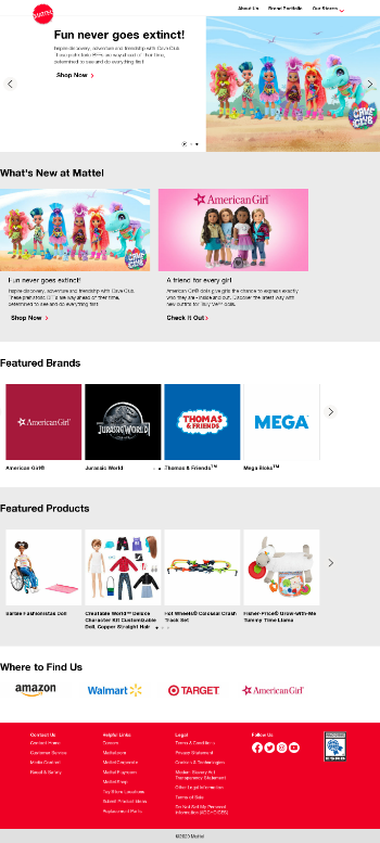 Mattel, Inc. Website Screenshot