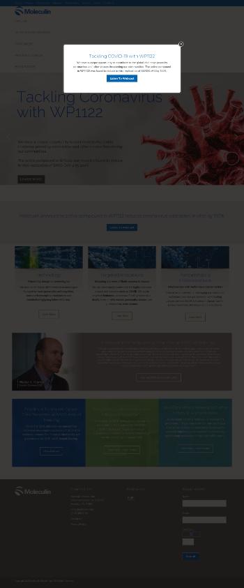 Moleculin Biotech, Inc. Website Screenshot