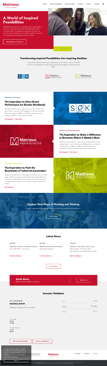 Matthews International Corporation Website Screenshot