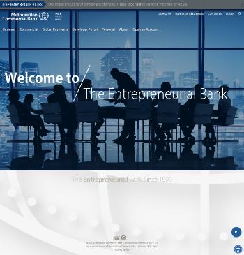 Metropolitan Bank Holding Corp. Website Screenshot