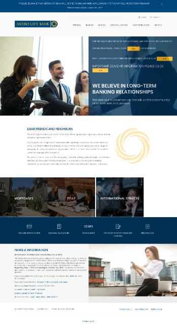 MetroCity Bankshares, Inc. Website Screenshot