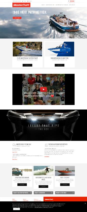 MasterCraft Boat Holdings, Inc. Website Screenshot