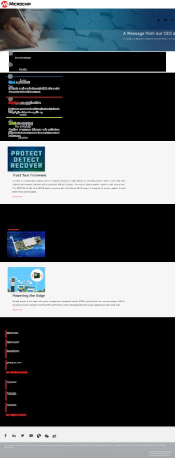 Microchip Technology Incorporated Website Screenshot