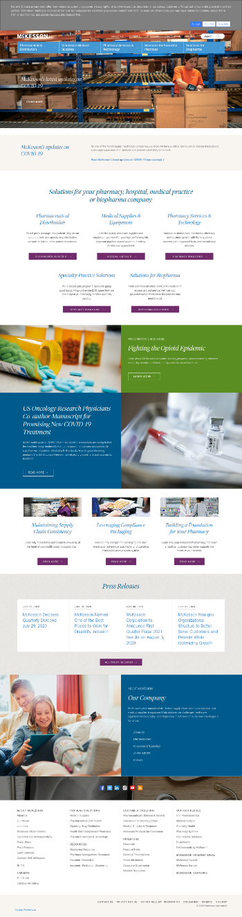 McKesson Corporation Website Screenshot