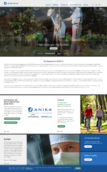 Anika Therapeutics, Inc. Website Screenshot