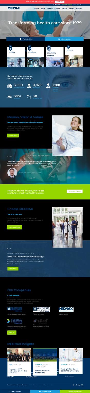 MEDNAX, Inc. Website Screenshot