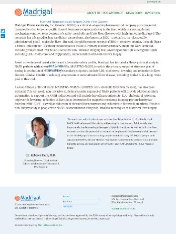Madrigal Pharmaceuticals, Inc. Website Screenshot