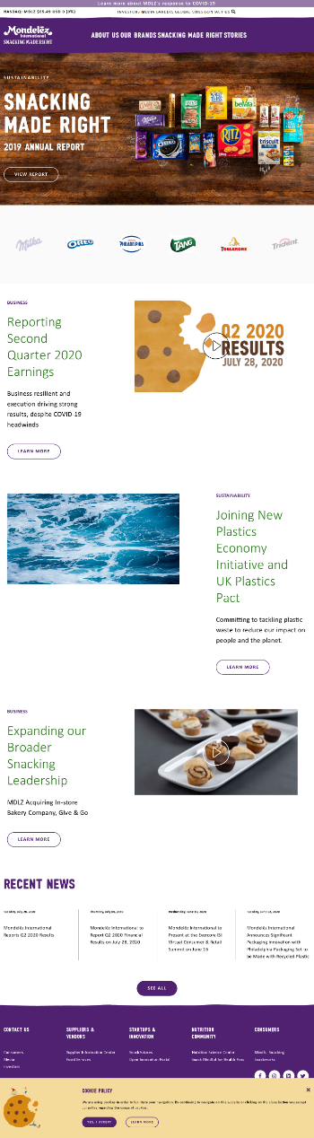 Mondelez International, Inc. Website Screenshot