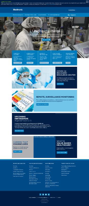 Medtronic plc Website Screenshot