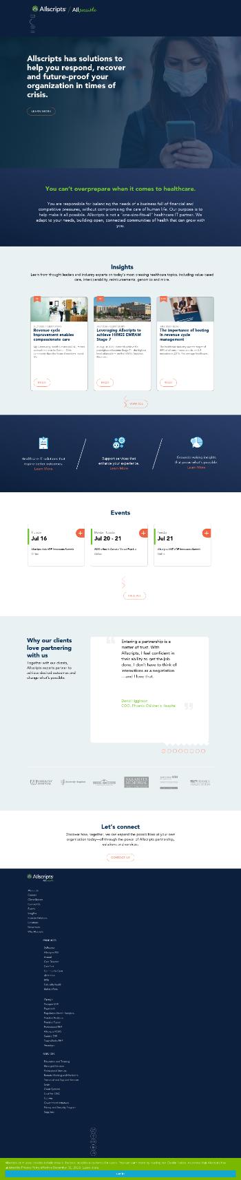 Allscripts Healthcare Solutions, Inc. Website Screenshot