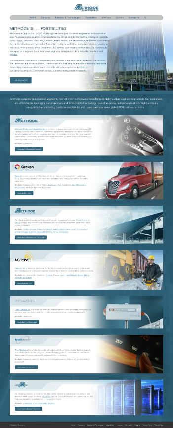 Methode Electronics, Inc. Website Screenshot