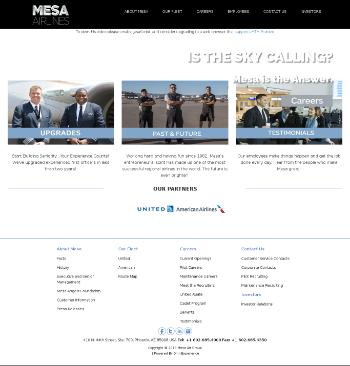 Mesa Air Group, Inc. Website Screenshot