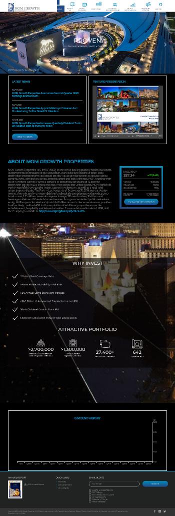 MGM Growth Properties LLC Website Screenshot