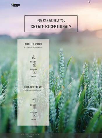 MGP Ingredients, Inc. Website Screenshot