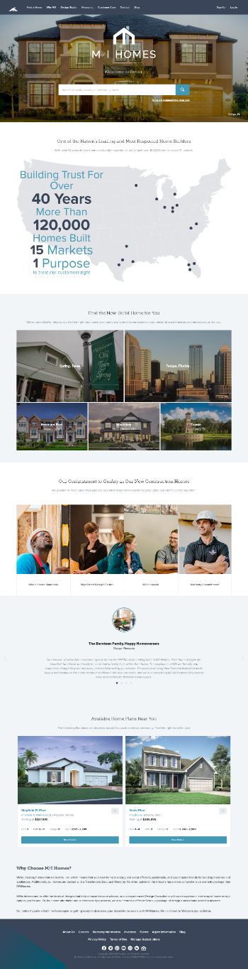 M/I Homes, Inc. Website Screenshot