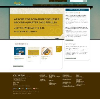 Apache Corporation Website Screenshot