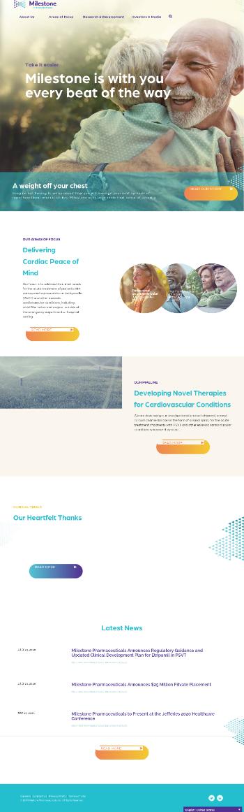 Milestone Pharmaceuticals Inc. Website Screenshot