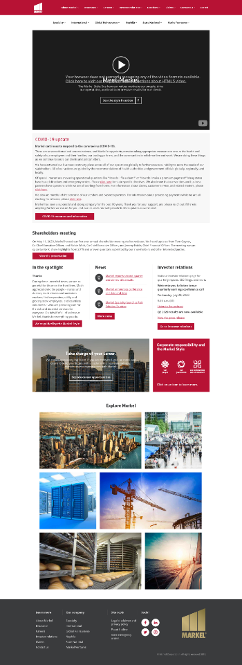 Markel Corporation Website Screenshot