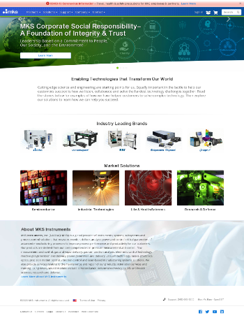 MKS Instruments, Inc. Website Screenshot