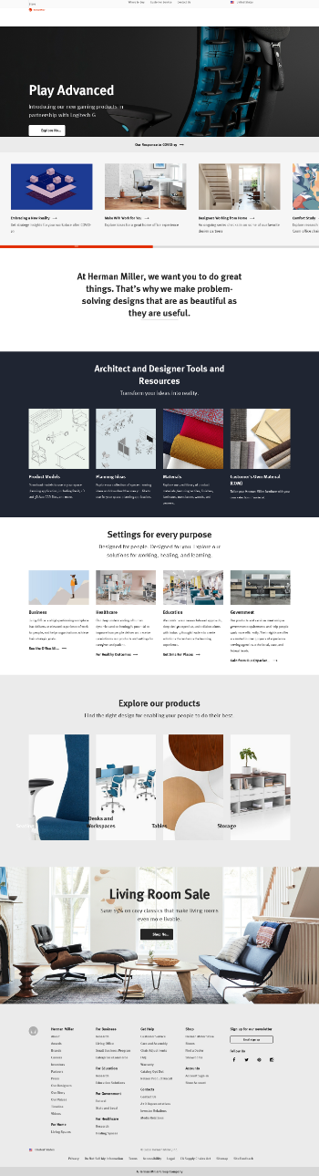 Herman Miller, Inc. Website Screenshot