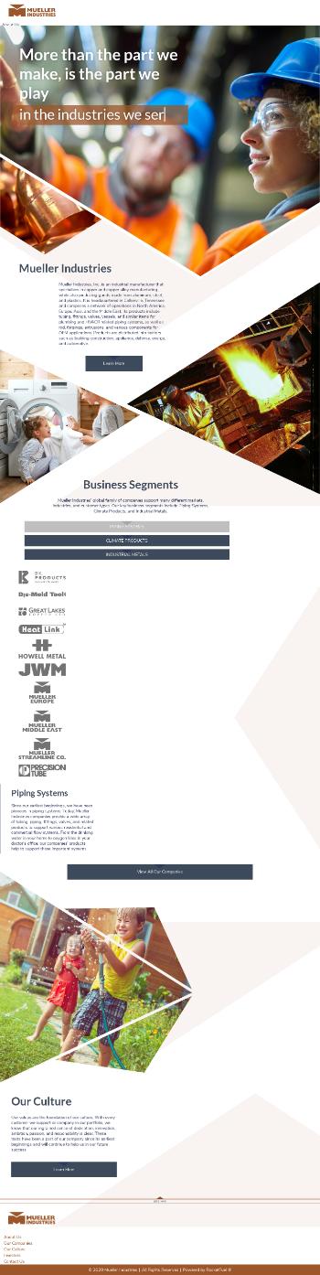 Mueller Industries, Inc. Website Screenshot