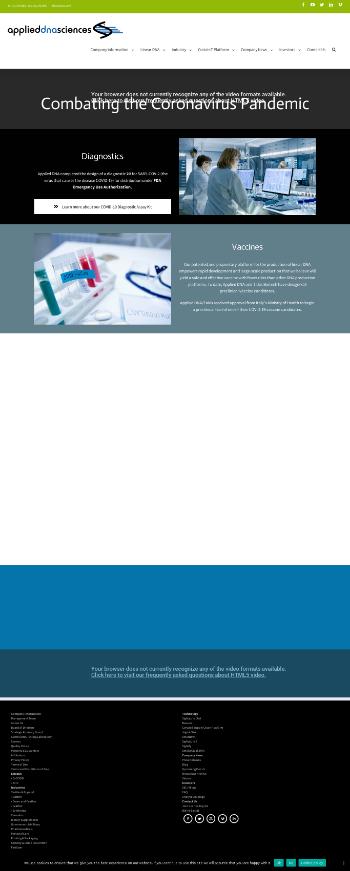 Applied DNA Sciences, Inc. Website Screenshot