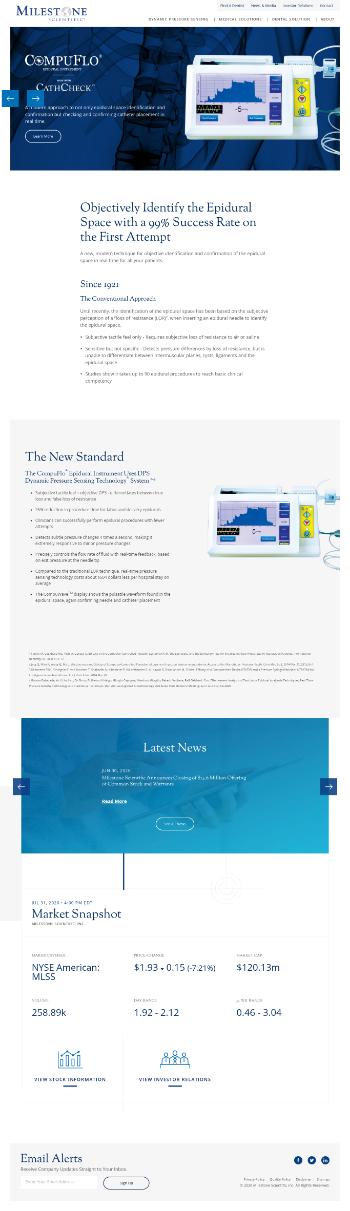 Milestone Scientific Inc. Website Screenshot