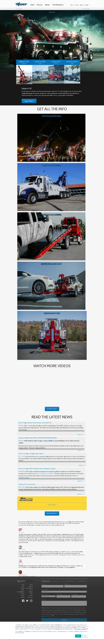 Miller Industries, Inc. Website Screenshot