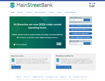 MainStreet Bancshares, Inc. Website Screenshot