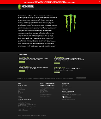 Monster Beverage Corporation Website Screenshot