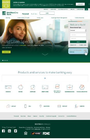 MidWestOne Financial Group, Inc. Website Screenshot