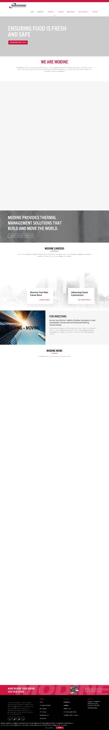 Modine Manufacturing Company Website Screenshot