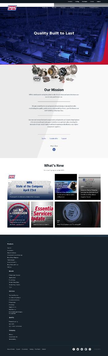 Motorcar Parts of America, Inc. Website Screenshot