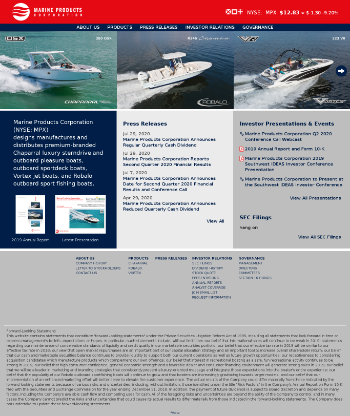 Marine Products Corporation Website Screenshot