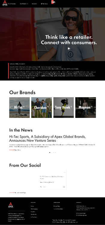 Apex Global Brands Inc. Website Screenshot