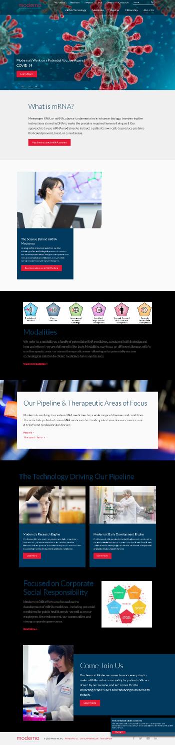Moderna, Inc. Website Screenshot
