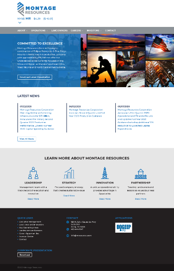 Montage Resources Corporation Website Screenshot