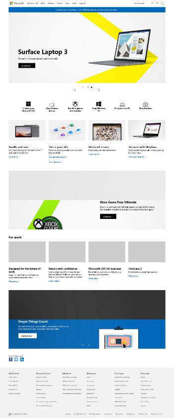 Microsoft Corporation Website Screenshot