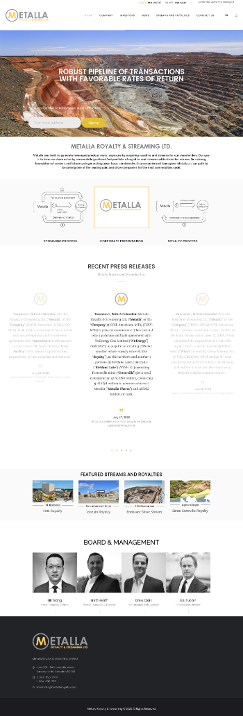Metalla Royalty & Streaming Ltd. Website Screenshot
