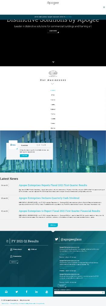 Apogee Enterprises, Inc. Website Screenshot