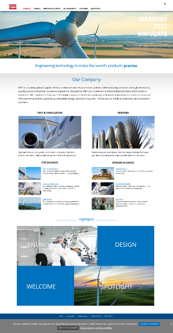 MTS Systems Corporation Website Screenshot