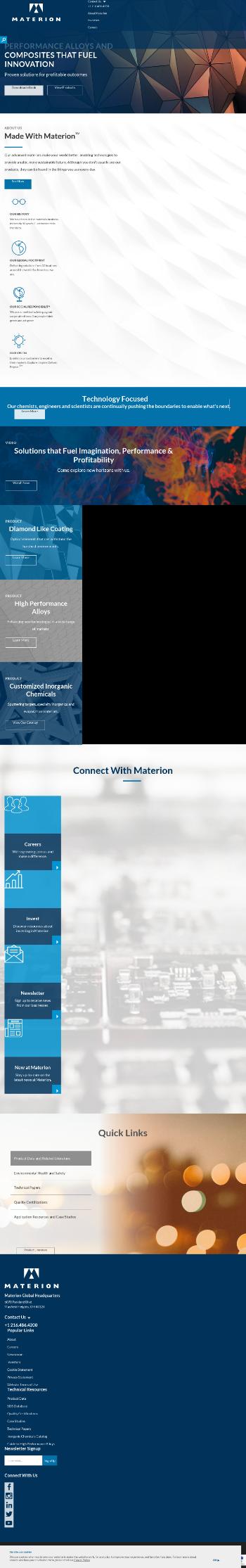 Materion Corporation Website Screenshot
