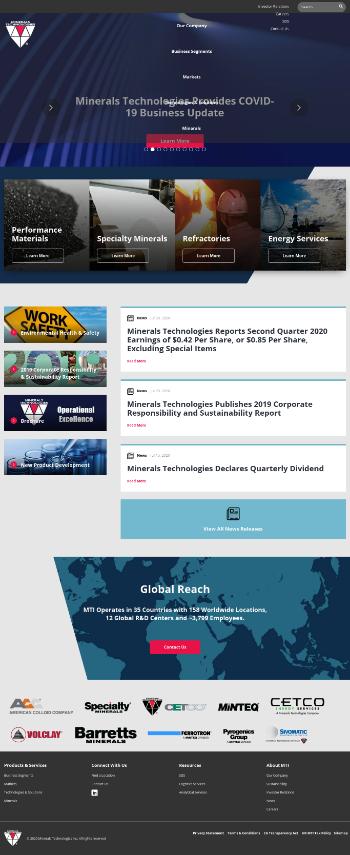 Minerals Technologies Inc. Website Screenshot