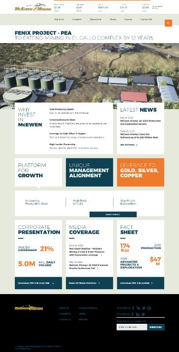 McEwen Mining Inc. Website Screenshot