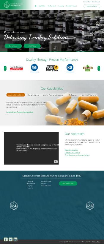 Natural Alternatives International, Inc. Website Screenshot